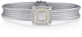 Alor Classique Five-Row Micro-Cable Bracelet w/ Square Diamond Station, Gray