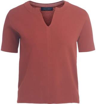 Pullover Serafino-Shirt Ziegelrot