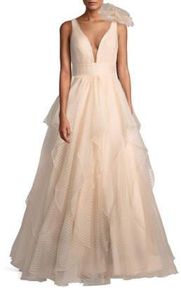 Jovani Lace Ball Gown w/ 3D Shoulder Detail