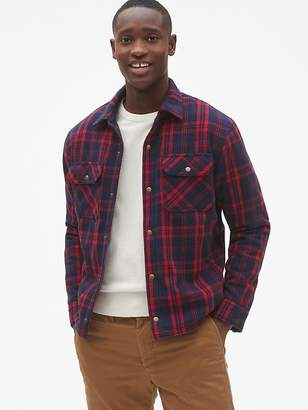 Sherpa-Lined Plaid Shirt Jacket