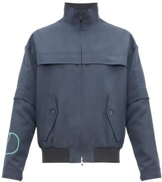 Valentino Logo Print Removable Sleeve Bomber Jacket - Mens - Grey