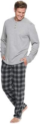 Chaps Big & Tall Henley & Plaid Fleece Lounge Pants Set