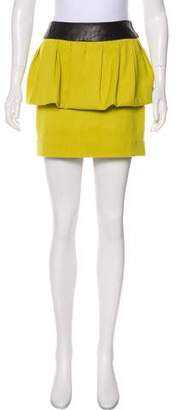 Milly Leather-Trimmed Wool Skirt