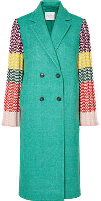 Mira Mikati Appliquéd Wool-blend And Ribbed Crochet-knit Coat - Jade