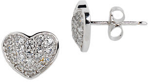 Lord & Taylor Sterling Silver and Cubic Zirconia Pave Heart Stud Earrings $50 thestylecure.com