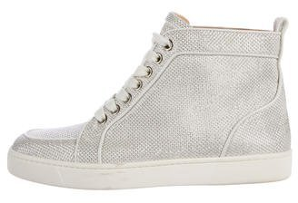 Christian Louboutin Glitter High-Top Sneakers $530 thestylecure.com