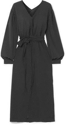 Oasis Nanushka Polka-dot Georgette Midi Dress