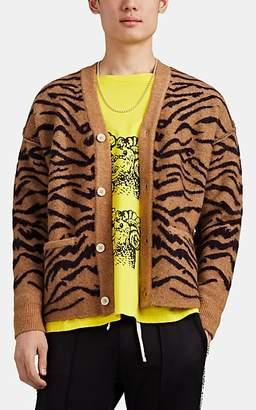 Ovadia & Sons Men's Tiger-Striped Alpaca-Merino-Wool Cardigan - Beige, Tan