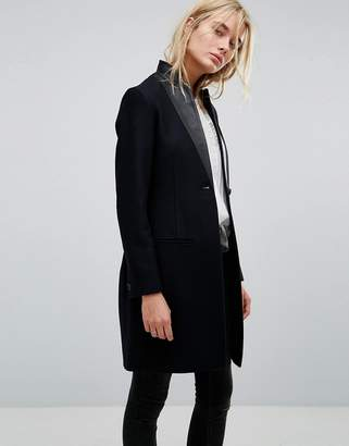 AllSaints Leni Coat with Leather Lapel