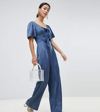 2a7463faa8c Lost Ink Petite Jumpsuit With Scoop Neck And Bow Front