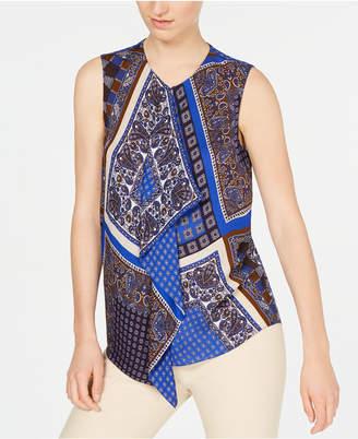 Elie Tahari Scarf-Print Sleeveless Blouse