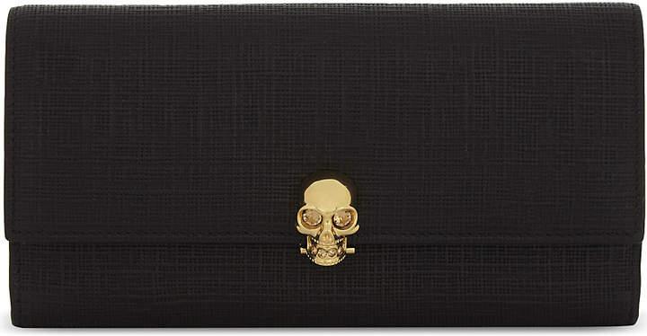 Alexander McQueen Skull clasp embossed leather wallet
