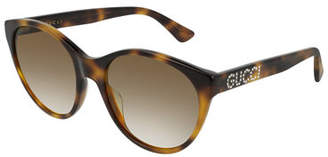 8ad061c53f4 Gucci Acetate Cat-Eye Sunglasses with Crystal Logo