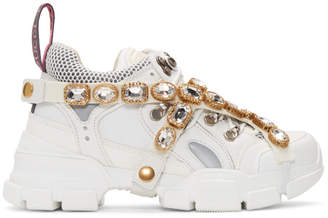 c855796d2af Gucci White Crystal Flashtrek Sneakers