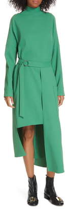 Tibi Chalky Drape Cutout Long Sleeve Dress