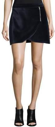 Alice + Olivia A-Line Mini Velvet Tulip Skirt