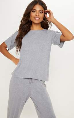 PrettyLittleThing Grey Marl Cotton Oversized T shirt