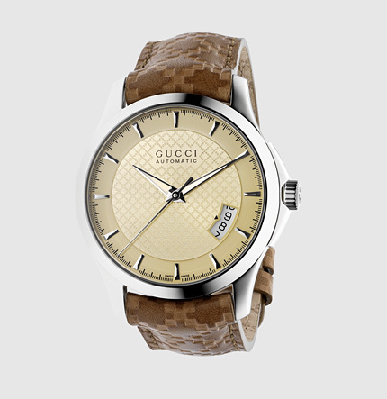 Gucci G-Timeless Medium Stainless Steel And Leather Watch