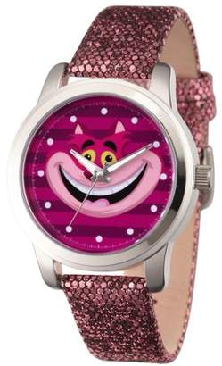 Disney Alice in Wonder Land Cheshire Cat Women's ilver Alloy Watch, Purple Sequins Strap