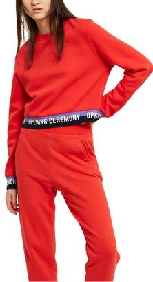 Opening Ceremony Fleece Back Terry Elastic Logo Crop Sweatshirt
