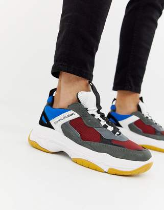 Calvin Klein Marvin chunky sole sneakers in gray multi
