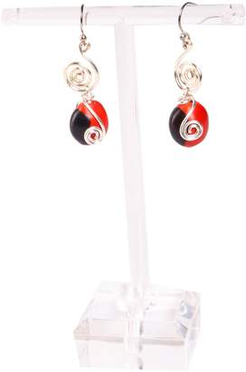 Evelyn Brooks Designs Dangle Earrings For Women Made With Red & Black Natural Huayruro Seed 8mm Beads by Evelyn Brooks