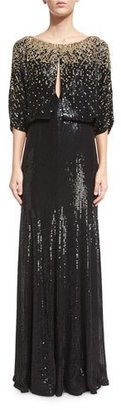 Jenny Packham 3/4-Sleeve Round-Neck Embellished Gown, Black/Gold $4,560 thestylecure.com