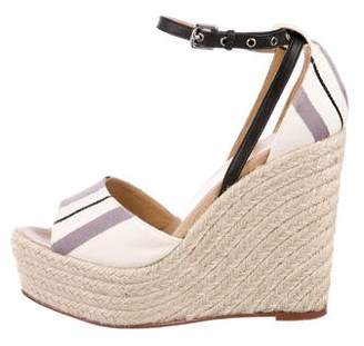 Hermes Canvas Espadrille Wedge Sandals