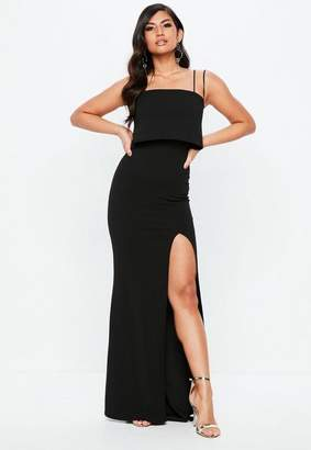 Missguided Black Square Neck Overlay Maxi Dress