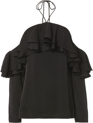 Emilio Pucci Tiered Ruffles Cold Shoulder Top $1,080 thestylecure.com