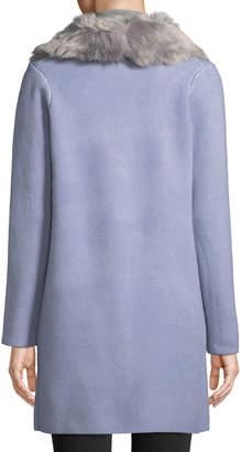 Love Token Knit Cardigan W/ Faux Fur Collar