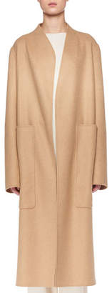 The Row Paret Open-Front Wool-Cashmere Coat w/ Patch Pockets