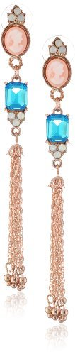 """Betsey Johnson Vintage Bows"""" Cameo Crystal Gem Multi-Chain Linear Drop Earrings"""