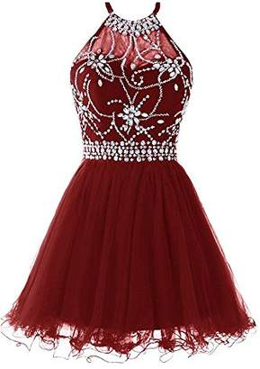 Lily Wedding Junior's A-line Halter Rhinestones Homecoming Dress Short Prom Gown Mini FHD009 Size 8