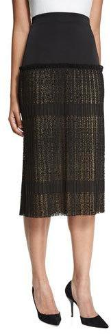 Alexis Alexis Alysa High-Rise Paneled Plisse Lace Midi Skirt, Black