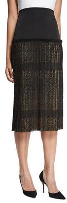 Alexis Alysa High-Rise Paneled Plisse Lace Midi Skirt, Black $418 thestylecure.com