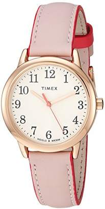 Timex Women's TW2R62800 Easy Reader 30mm -Tone Leather Strap Watch