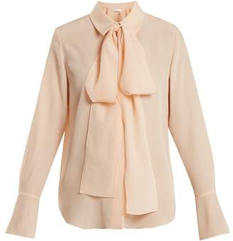 Chloé Tie Neck Silk Crepe Shirt - Womens - Pink