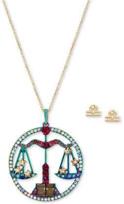 "Betsey Johnson Two-Tone Multi-Stone Libra Zodiac Pendant Necklace & Stud Earrings Set, 21-1/2"" + 3"" extender"