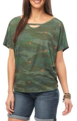 Democracy Camouflage Cut-Out Top