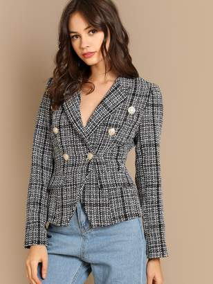 c4ad3f6914 Shein Notch Collar Double Breasted Tweed Coat