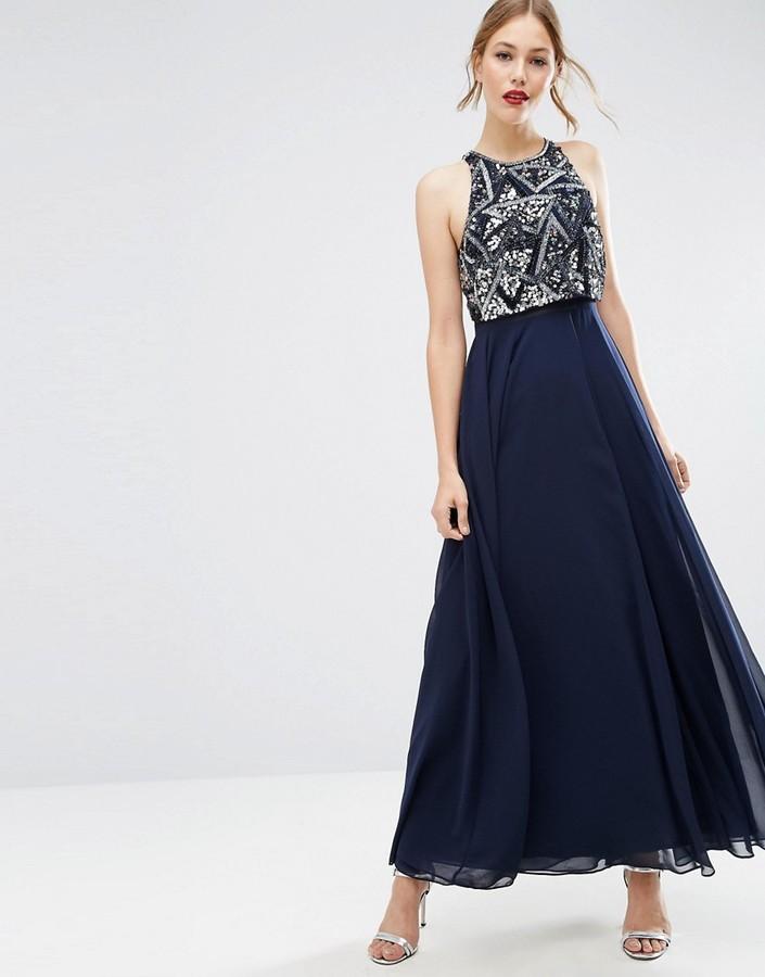 AsosASOS Embellished Crop Top Maxi Dress