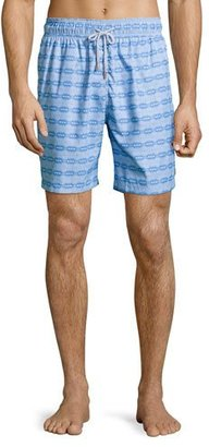 Retromarine Guillauche Ball Printed Swim Trunks, Blue $155 thestylecure.com