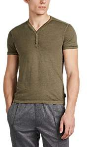 John Varvatos Men's Washed Cotton-Blend Henley - Olive