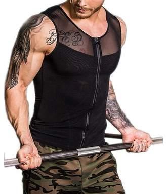 JOVIVI Men Body Shaper Shapewear Slimming Vest Compression Tank Top Shirt Undershirt Zipper for Sport Workout Gym