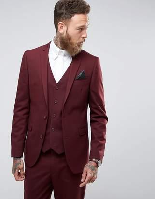 Asos DESIGN Slim Suit Jacket In Burgundy
