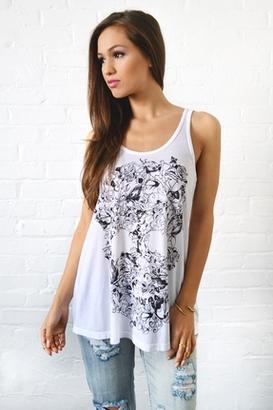 Lauren Moshi Lily Vine Skull Swing Tank in White $88 thestylecure.com