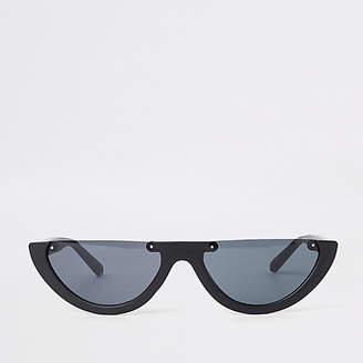 River Island Womens Black smoke lens half-frame sunglasses 0be353eb21