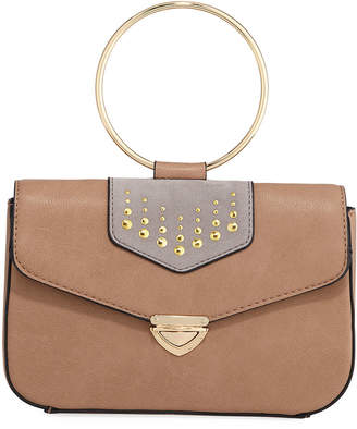 Neiman Marcus Nora Ring-Handle Flap Bag with Crossbody Strap