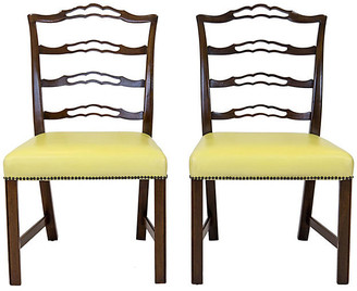 One Kings Lane Vintage Mahogany Ladder Back Side Chairs - Set of 2 - Janney's Collection